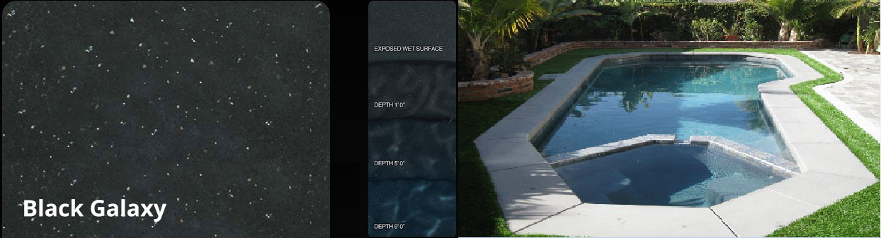 Pebble Fina Black Galaxy pool finish