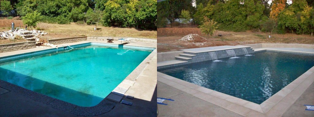 Before and after comparison of white plaster pool to dark blue finish with raised deck area added with 3 sheer descents