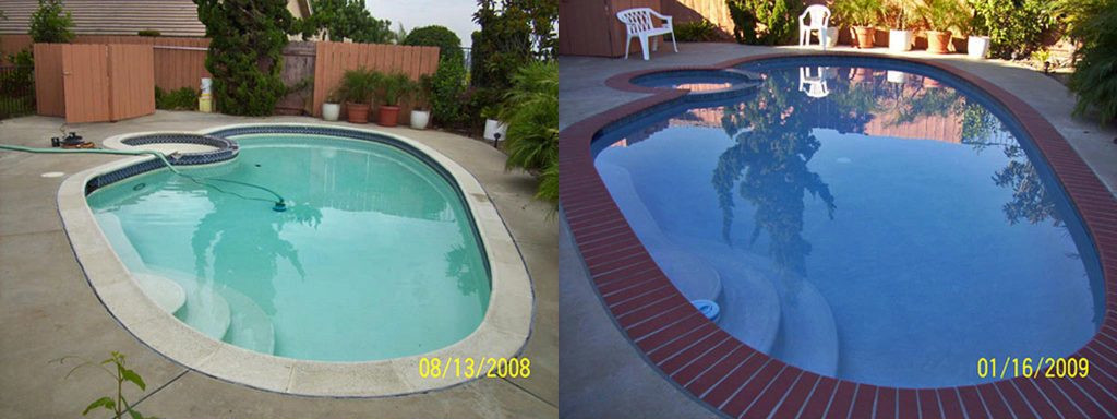 Before and after comparison of pool with safety grip coping to brick coping and new finish.