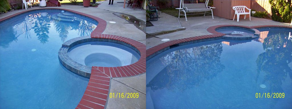Before and after comparison of pool and spa