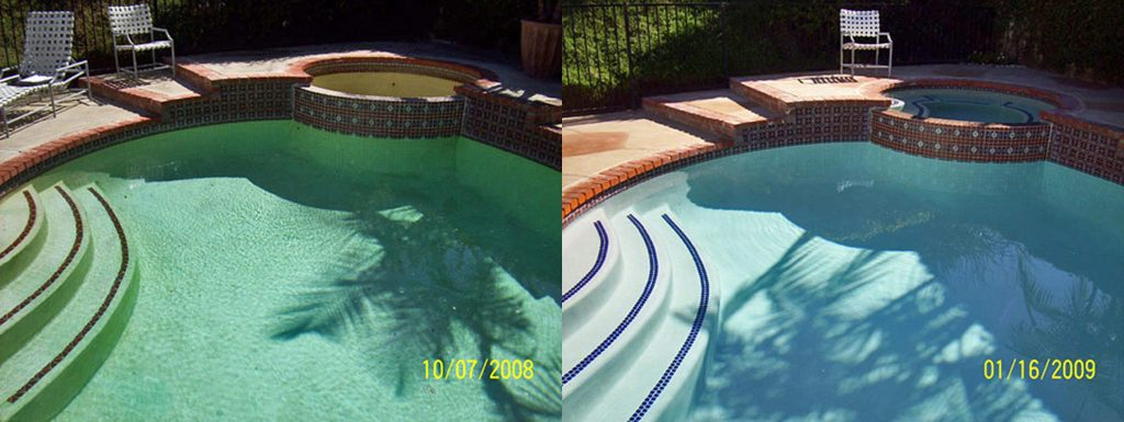 Before and after comparison of pool with new blue trim tile