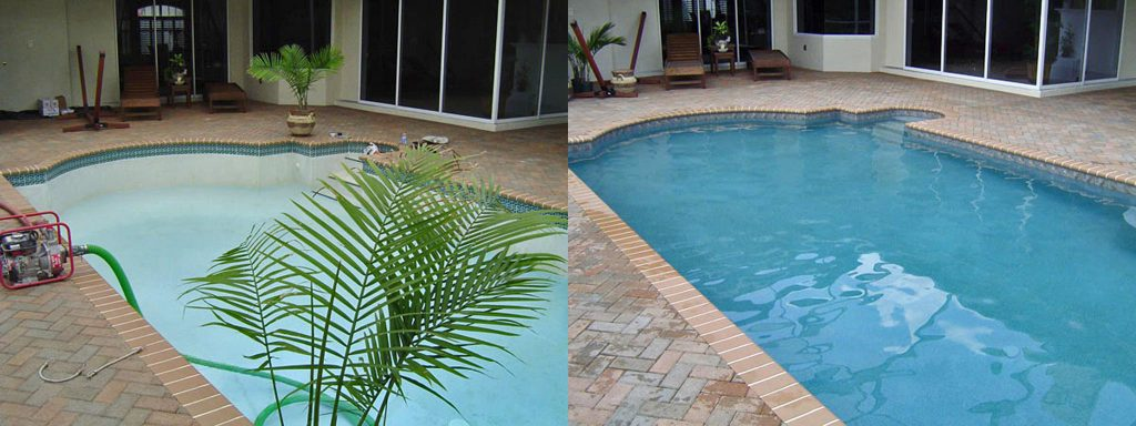Before and after comparison of drained pool in new finish