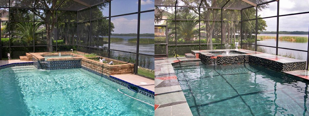 Before and after comparison of indoor pool with new rock finish on spa wall