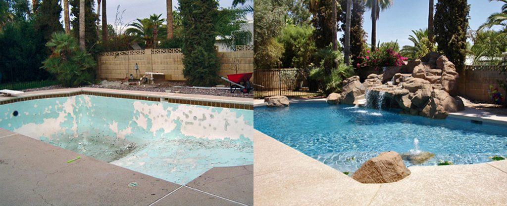 Before and after comparison of empty peeling pool to new finsh and man-made rock waterfall