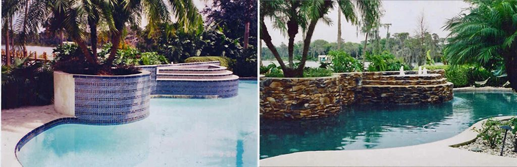 Before and after comparison of pool with focal point becoming raised planter rock walls