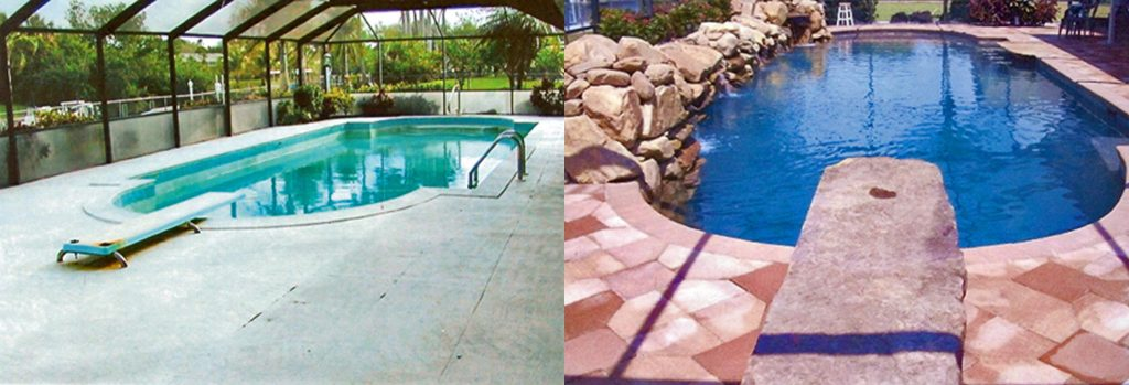 Before and after comparison of pool with new coping and deck and unique rock diving board