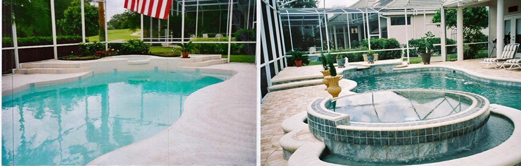 Before and after comparison of pool add a raised circular spa