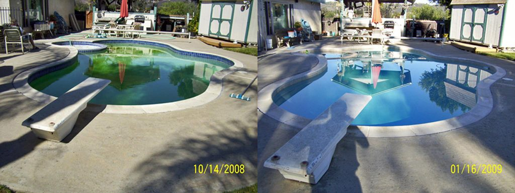 Before and after comparison of pool