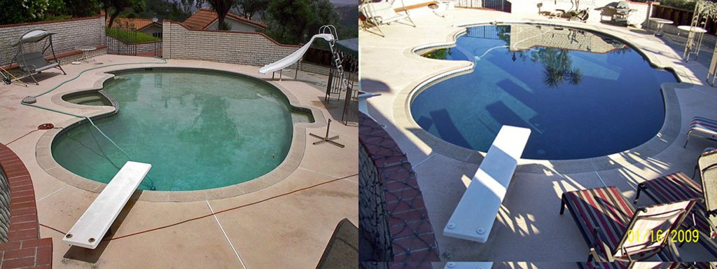 Before and after comparison of mostly circular pool