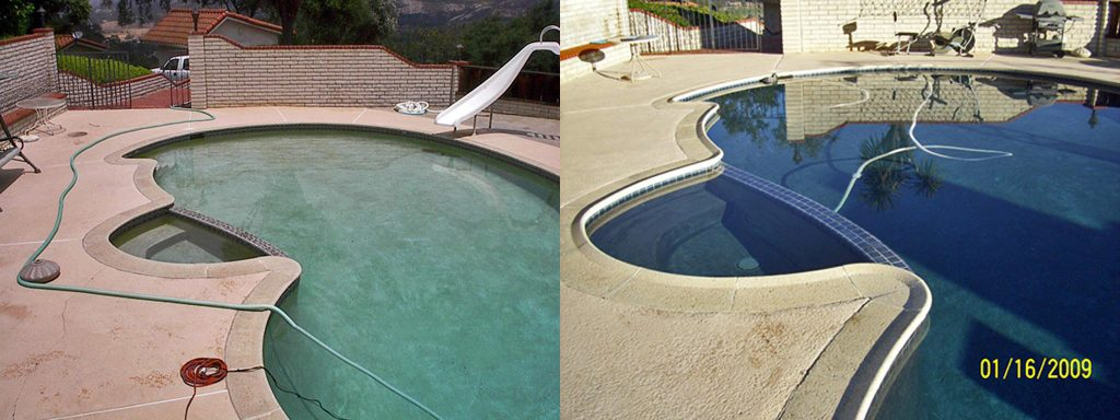 Before and after comparison of pool with new safety grip coping