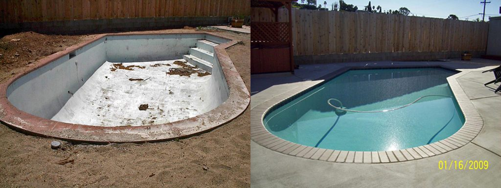 Before and after comparison of empty dirty pool to newly plastered and brick coping pool