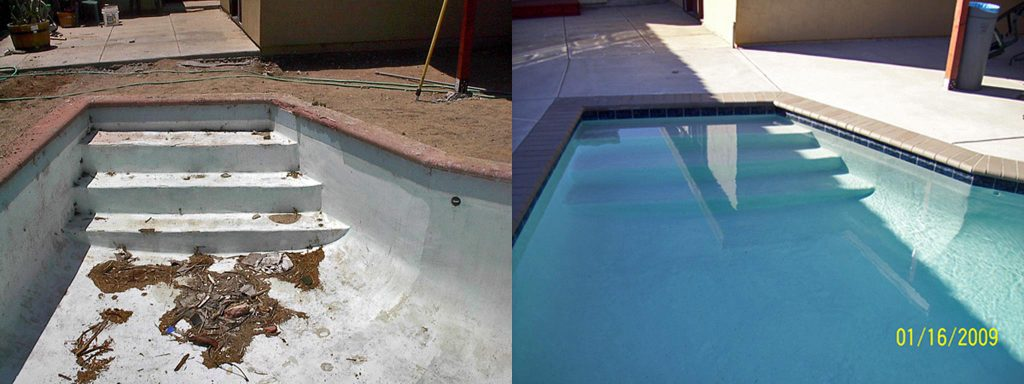 Before and after comparison of dirty pool steps to new finish