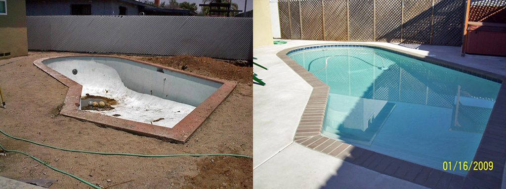 Before and after comparison of  small interestingly angled pool