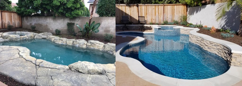 Before and after comparison of free-form man-made rock coping pool renovation to pour-in-place coping