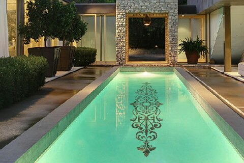 Intricate designed Mosaic in Lap Pool
