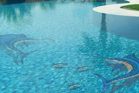 Swordfiss and other fish mosaics in pool