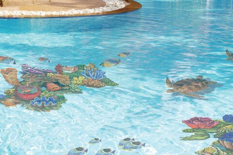 Colorful coral and turtle mosaics in pool