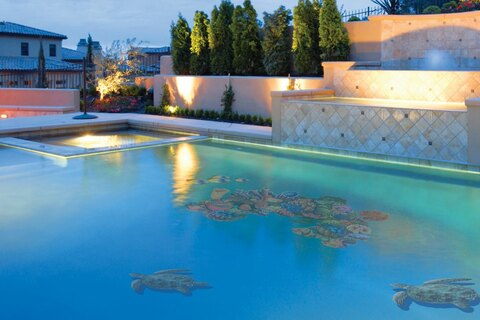 Turtles and coral mosaics in pool