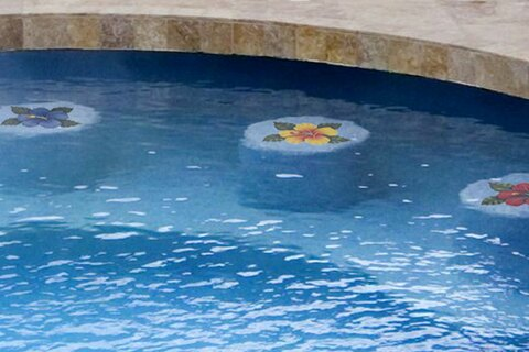Flower Mosaics on bar stools in pool